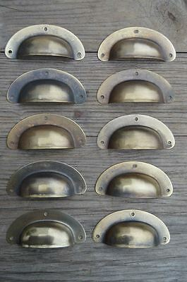 "A Set Of 10 Antique Pressed Aged Brass Drawer Handle Filing Industrial 3"" Cb22"