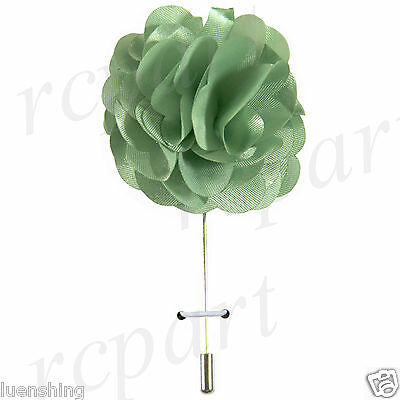 "New in box formal Men's Suit chest brooch sage green solid 2"" flower lapel pin"