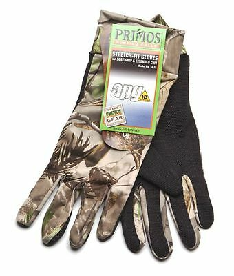 *Primos Stretch Fit PS6676 Gloves w/Sure-Grip & Extended Cuff RealTree APG