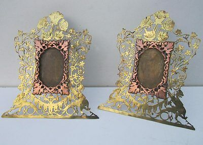 Stunning Pair of 19th Hand Carved Arts & Crafts Copper Gargoyle Picture Frames