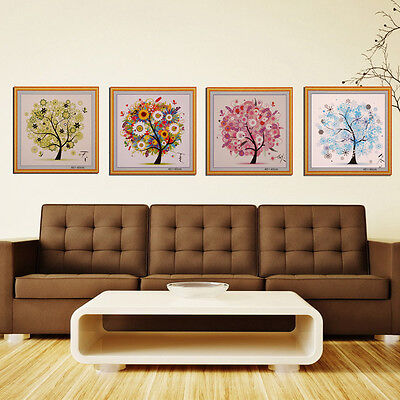 DIY Colorful Four Season Tree Counted Cross Stitch Kit Embroidery Set Home Decor