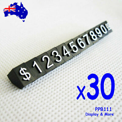 NEW 30 Sets Sale Price Tag Cubes | White Numerals on Plain Black | AUSSIE Seller
