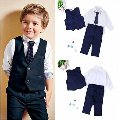 4pcs Toddler Kids Baby Boys Waistcoat+Tie+Shirt+Pants Outfits Clothes Sets Suits