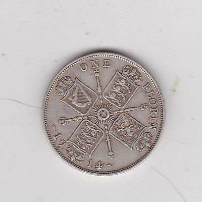 1914 George V Silver Florin In A Used Good Fine Condition