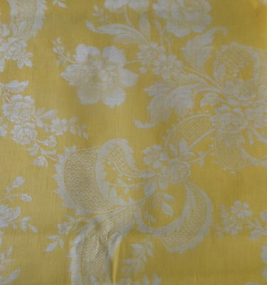 Antique French Yellow Damask Roses Ribbons Lace Patten Ticking Fabric