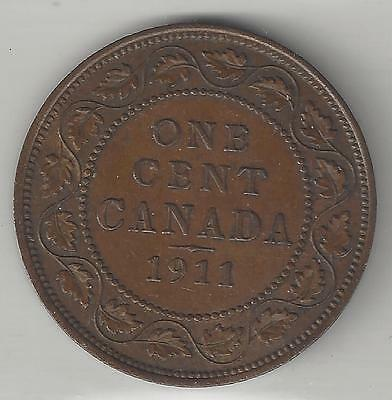 Canada, 1911,  Large Cent,  Bronze, Km#15, Extra Fine-Almost Uncirculated+ (001)
