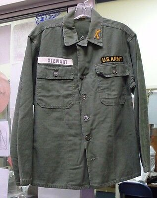 Us Army Cotton Fatigue Shirt Og-107 Used Infantry  Name Tapes Stewart/u.s. Army