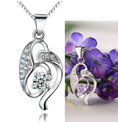 "18"" Chain Dancing Cubic Zirconia Sterling Silver Heart Pendant Necklace Gift L9"