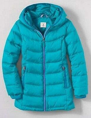 Lands End 443505 Little Girls Core Down Parka MEDIUM (5-6) Capri Breeze NWT
