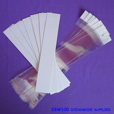 100 Blank White Bracelet Chain Jewellery Cards + 100 Cello Bags | AUSSIE Seller