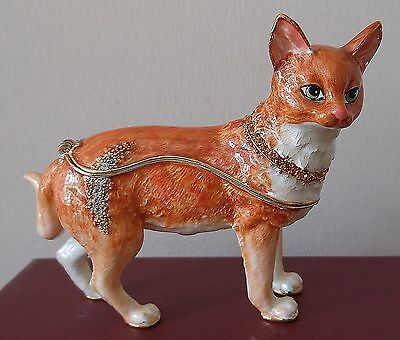 Red White Domestic Shorthair Cat Trinket Box Cats Bejewelled
