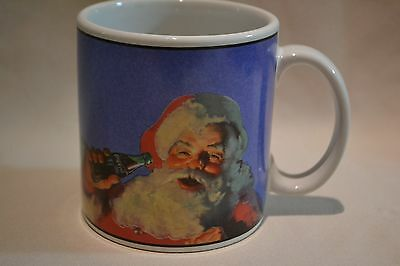 New Coca Cola Coke Santa Christmas Blue Stoneware Mug Coffee Cup