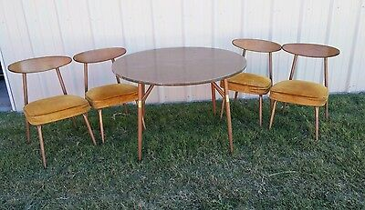 Retro 1960 60's Vintage Dining Dinette Kitchen Round Table & 4 Chairs