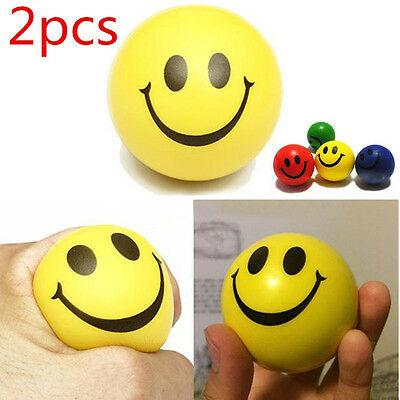 2PCS Smile Face Anti Stress Relief Hand Wrist Squeeze Exercise Sponge Foam Ball