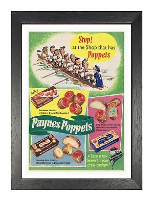 Paynes Poppets 2 Old Advert Photo Vintage Retro Picture Sweets Chocolate Poster