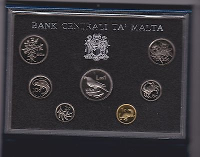 1986 Malta 7 Coin Boxed Proof Set With Certificate