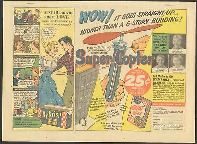 1951 - SUPER-COPTER Toy - WHEAT CHEX newspaper comic ad - RY-KRISP - RINSO