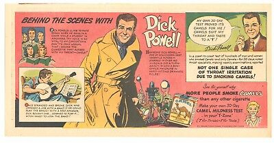 1951 - Camel Cigarettes - comic ad - DICK POWELL - Behind the Scenes With...
