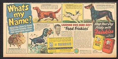 1949 - FRISKIES Dog Food ad - Dog Breeds - Irish Setter, Chihuahua, Pomeranian