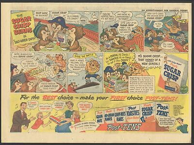 "1951 - POST SUGAR CRISP BEARS - Newspaper Comic ad - ""Salt-Water Daffy"""