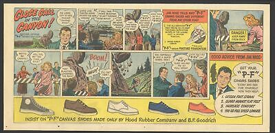 "1951 - ""P-F"" CANVAS SHOES Newspaper Comic ad - Close Call In The Canyon - OXYDOL"