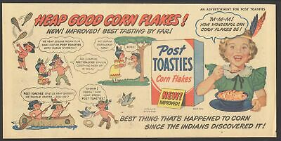 1951 - POST TOASTIES - Comic Newspaper ad - HONEST INJUN