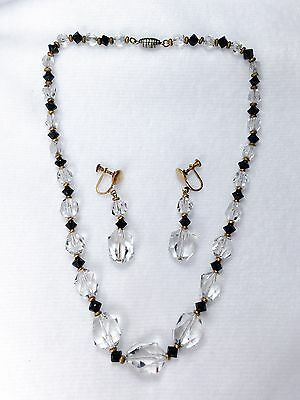 Lovely Art Deco Crystal & Jet Faceted Glass Beaded Necklace & Dangle Earring Set