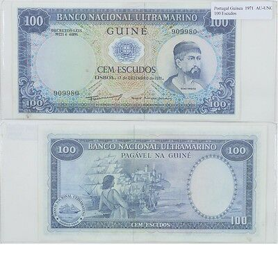 1971 100 Escudos Banknote from Guinea in AU-UNC Condition.