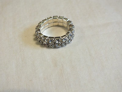 Beautiful Silver Tone Stretch Cocktail Ring Filled Sparkling Clear Rhinestones