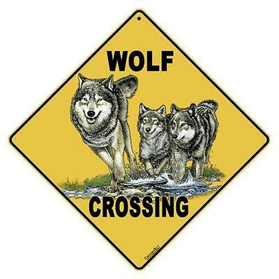 Wolf Crossing Sign NEW 12X12 Metal Lobo Gray