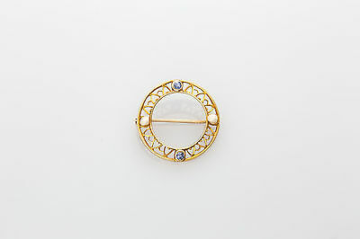 Antique 1920s Natural Blue Sapphire Pearl 14k Yellow Gold Filigree CIRCLE Pin 2g