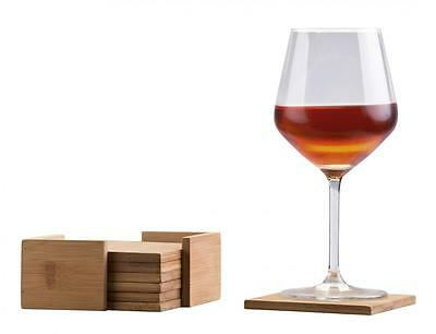Set of 6 Square Bamboo Coaster Coasters with Holder Protecting Table