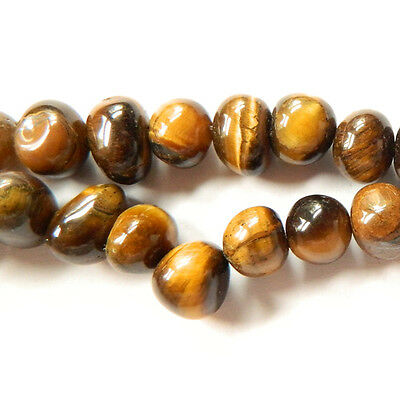 Strand Of 50+ Yellow/Brown Tiger Eye 7-9mm Smooth Nugget Beads GS5434