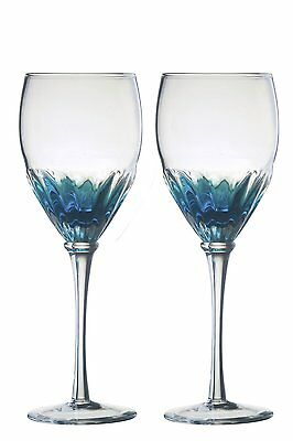 Anton Studio Set of 2 Solar Wine Glasses Blue Clear Blown Glass Gift 35cl 350ml