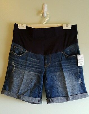NWT Oh Baby Motherhood Maternity SMALL Denim Shorts JEAN Mid Belly Panel 4281215
