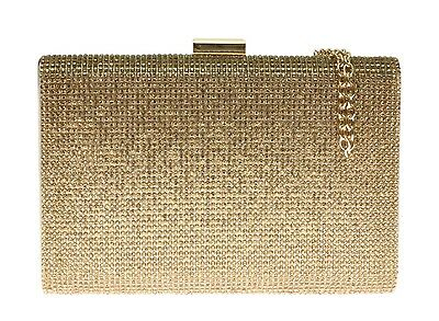 New Shimmer Satin Diamante Hard Case Clutch Bag Clasp Handbag Womens Wedding
