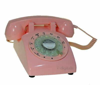 Pink Retro Rotary Dial Corded Telephone 1970s Style Old Fashioned Desk Phone NEW