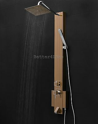 "50"" Shower Tower Panel Spa Rainfall Style Stainless Steel System Wall Mount"