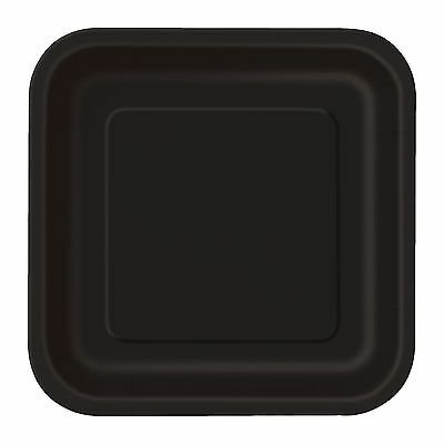 Black Small Square Paper Plates Pack Of 16 Birthday Party Supplies