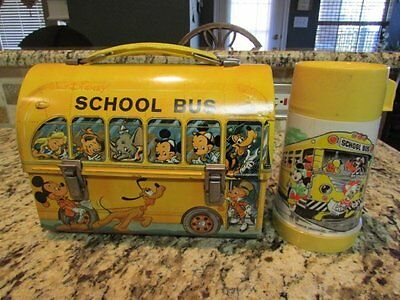 VINTAGE RARER ORANGE 1970's DISNEY SCHOOL BUS DOME METAL LUNCHBOX & THERMOS