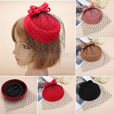 Women Bowknot Fascinator Hairclip Beret Hair Pillbox Hat Veil Cocktail Party