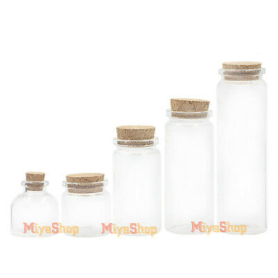 Clear Glass Bottle With Cork Lid Container Borosilicate Diameter Of 37mm Empty