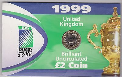 1999 Rugby £2 Coin In Royal Mint Uncirculated Flatpack