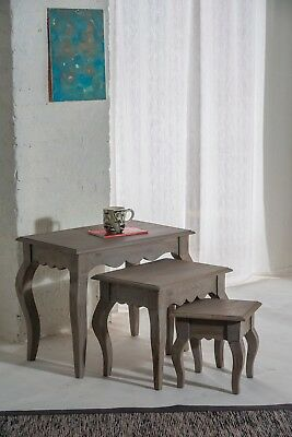 Bourdeilles Solid Mango Shabby Chic Vintage Nest of 3 Tables