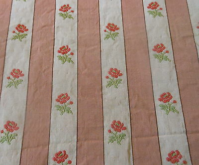 Antique French Roses Stripe Lisere Fabric ~salmon apricot soft red green