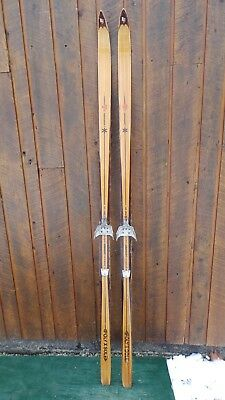 "VINTAGE HICKORY Wooden 82"" Skis Has Blond Finish Signed LAMPINEN + Bamboo Poles"