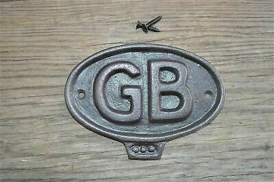 Fantastic Cast Iron Vintage Style Gb Great Britain Metal Door Sign Plaque Cb4