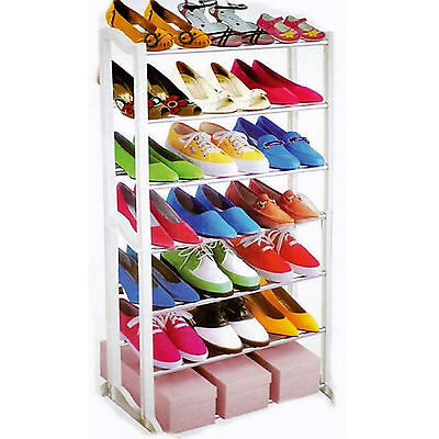 7 Tier Storage Shoe Stand Rack Shelf Organizer Tower For 21 Pairs Of Shoes