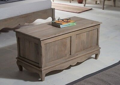 Bourdeilles Ottoman Trunk Blanket Box Solid Shabby Chic in Mango  Free Del!