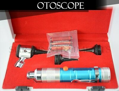 Otoscope Set BLUE ENT Medical Diagnostic Instruments  (Batteries Included)
